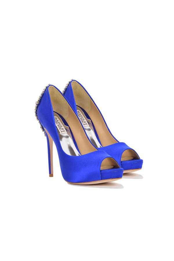 [SELL][KIARA-EMBELLISHED PEEP TOE PUMP-Sapphire Satin]by BADGLEY MISCHKA